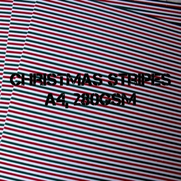Payper Box A4 Printed Card Christmas Stripes - 10 Sheets